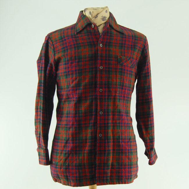 60s 100% Wool Plaid Flannel Shirt