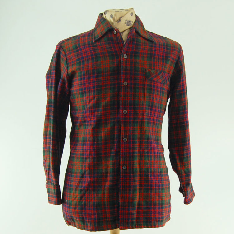 60s 100% Wool Plaid Flannel Shirt