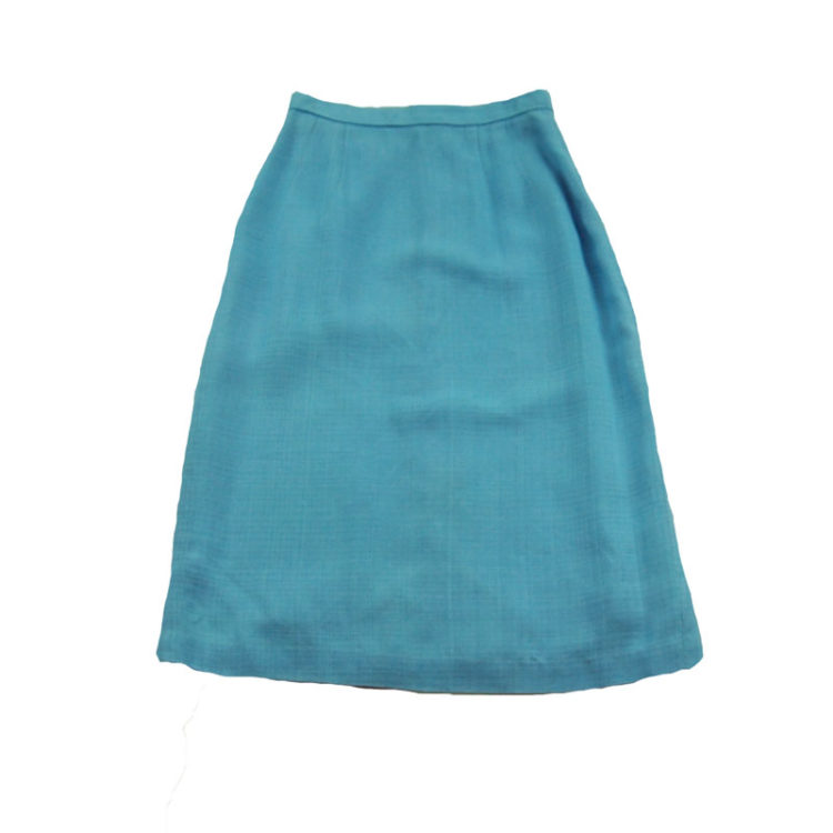 60s Baby Blue Pencil Skirt Petite Sizing