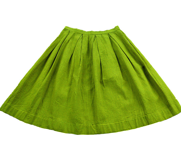 60s Yellow And Green Striped Skirt