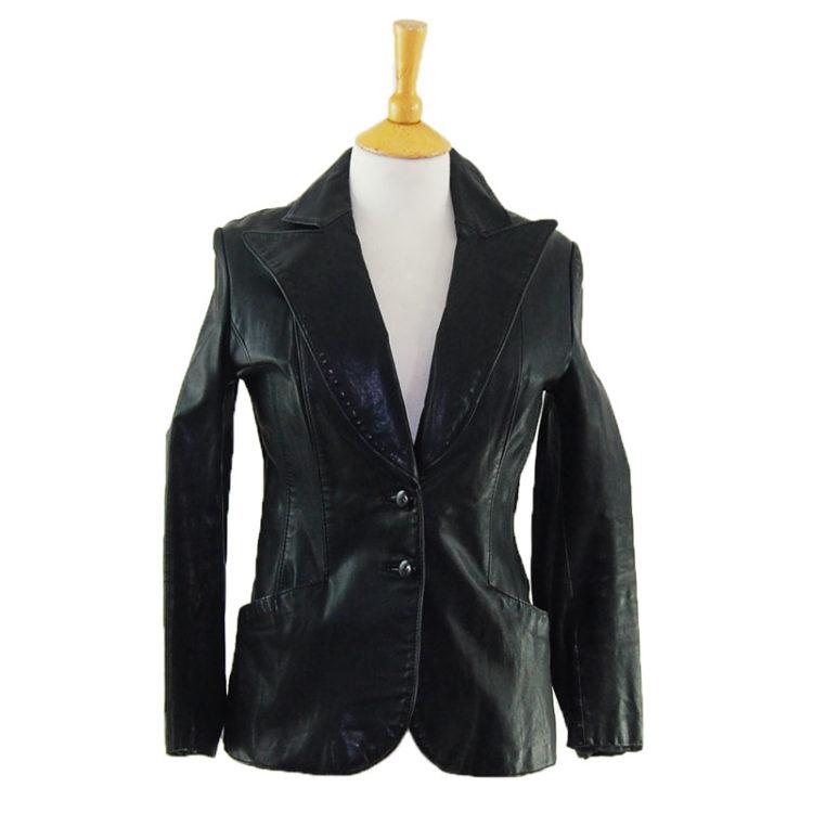 70s Black Cropped Leather Jacket