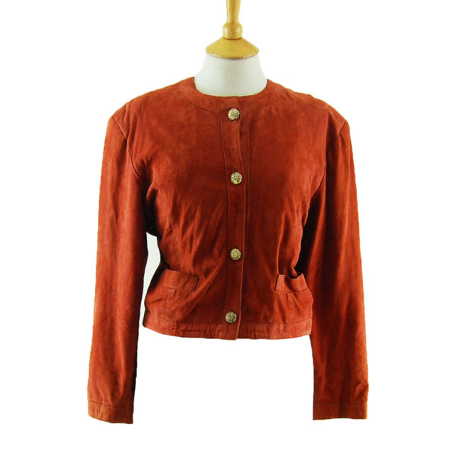 80s Cropped Red Suede Jacket