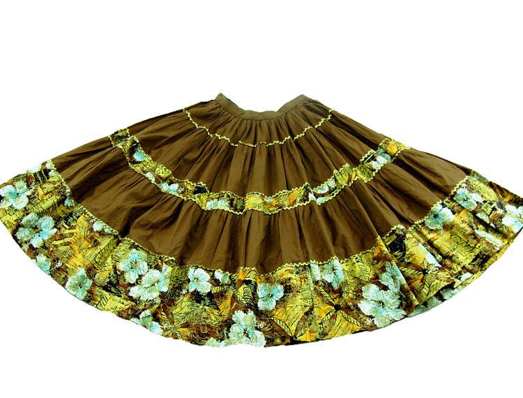 70s Oriental Style Cotton Full Skirt