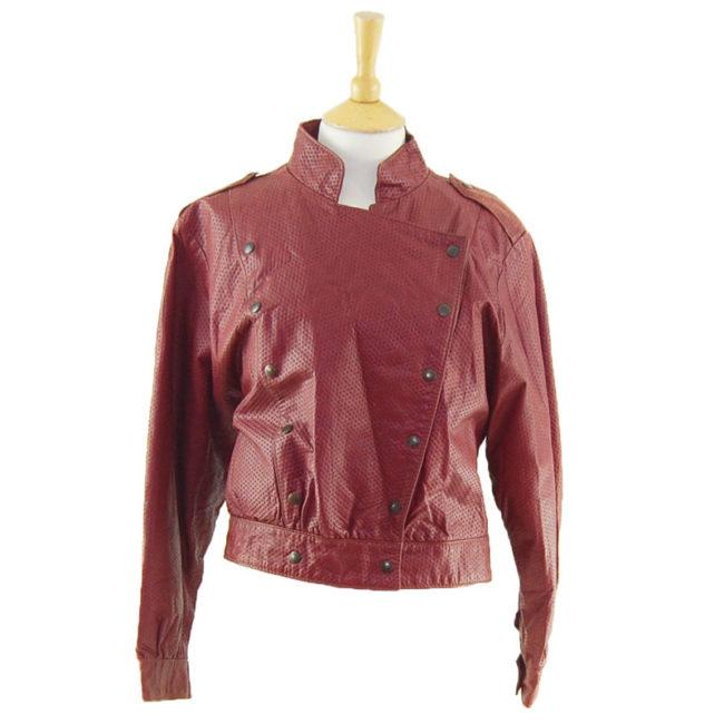 80s Burgundy Biker Jacket