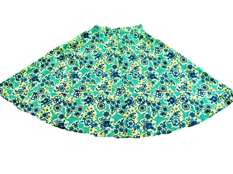 70s Vintage Blue Floral Print Skirt