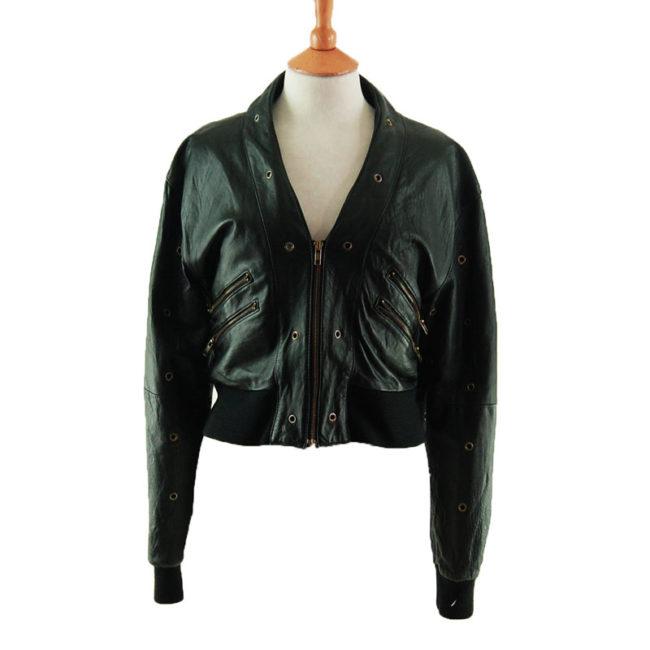 70s Womens Black Leather Biker Jacket