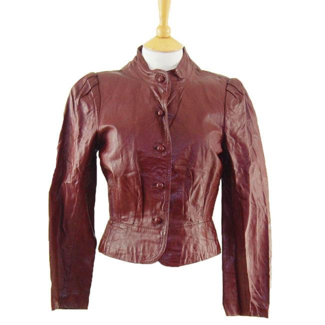 80s Womens Burgundy Leather Jacket