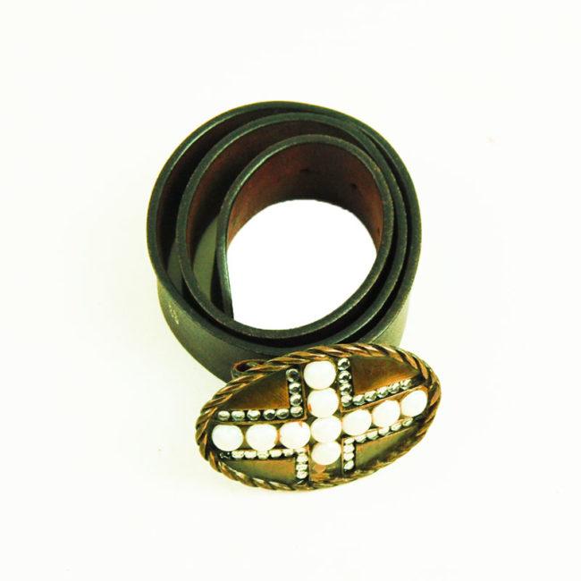 80s Brown Leather diamante Belt