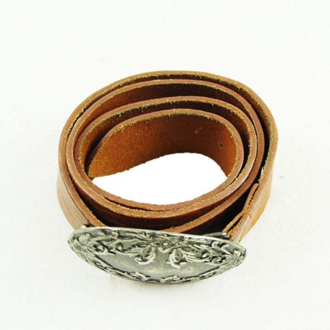 80s Large Vintage Brown Belt With Floral Buckle