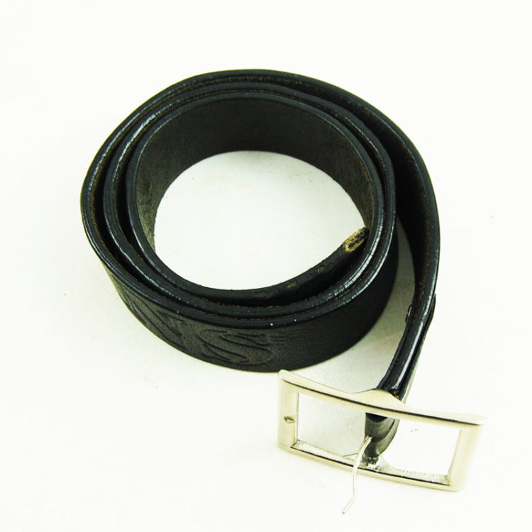 80s Mens Black Leather Belt
