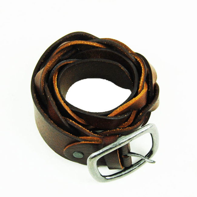 80s Pleated Brown Leather Belt