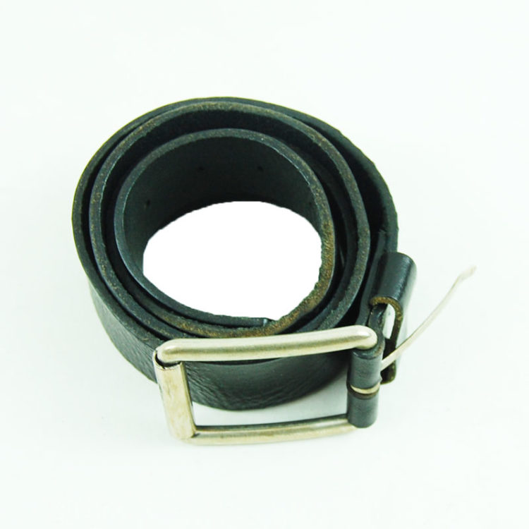 80s Textured Black Leather Belt