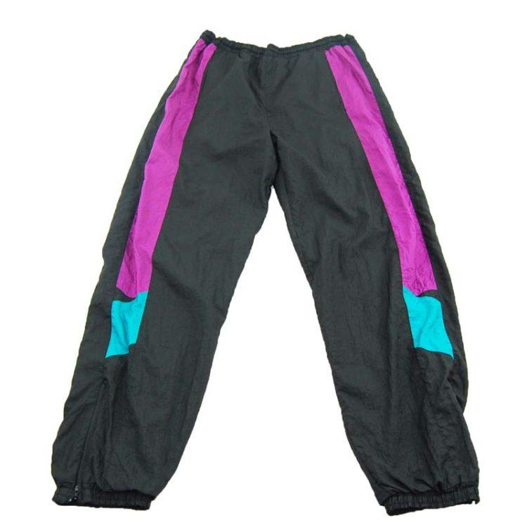 90s Black Colour Block Shell Suit Bottoms