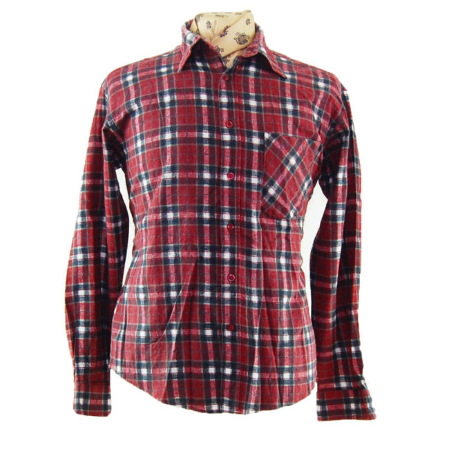 90s Burgundy And Black Flannel Shirt