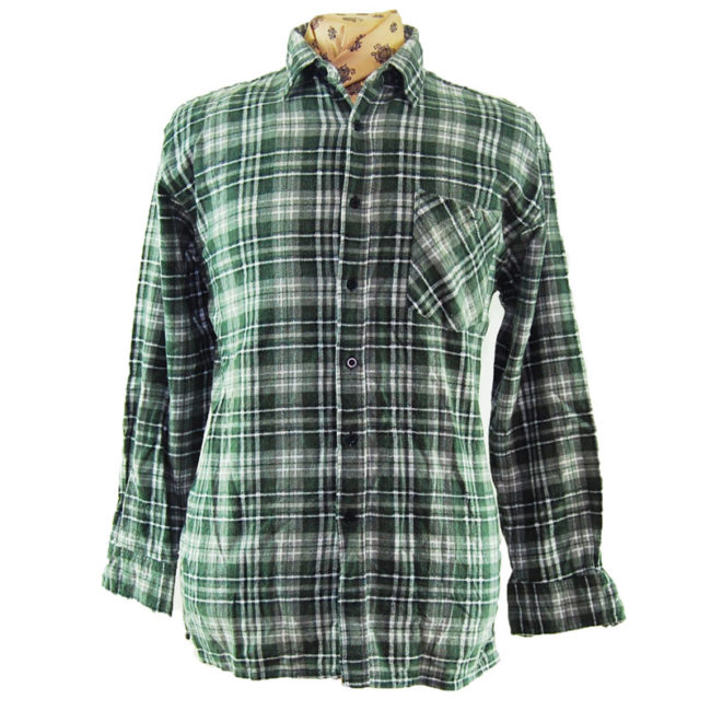 90s Green And Grey Flannel Shirt