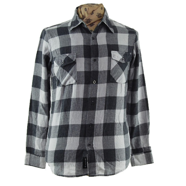 90s Grey And White Flannel Shirt