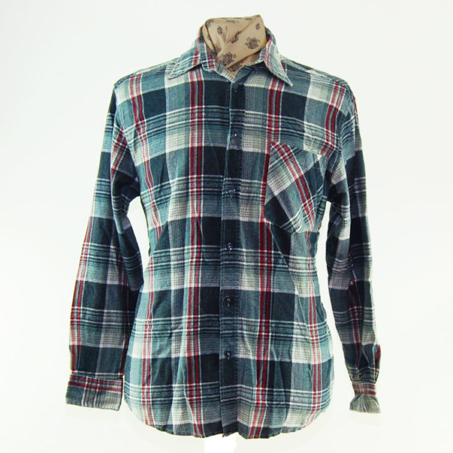 90s Grey and Red Plaid Flannel Shirt
