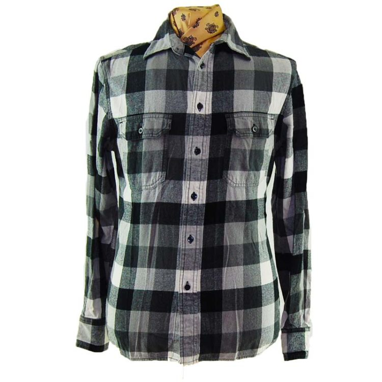 90s Large Grey Plaid Flannel Shirt