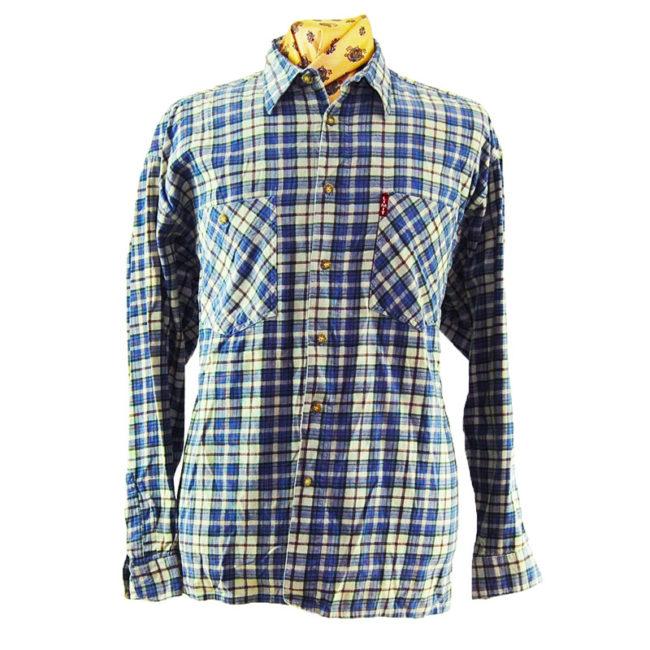 90s Pure Cotton Blue Plaid Flannel Shirt
