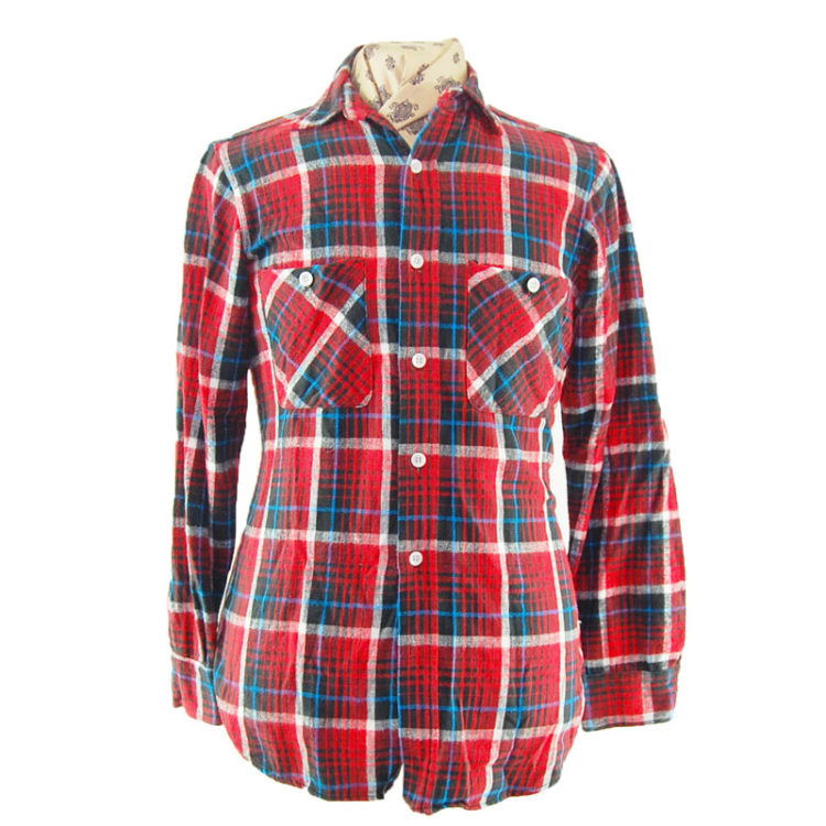90s Red and Blue Flannel Shirt