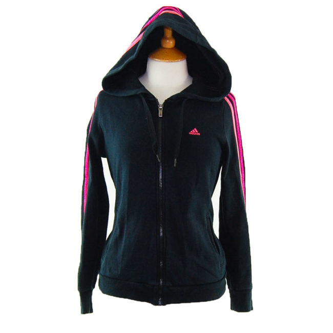 Classic Black and Pink Adidas Zip Up Hoodie