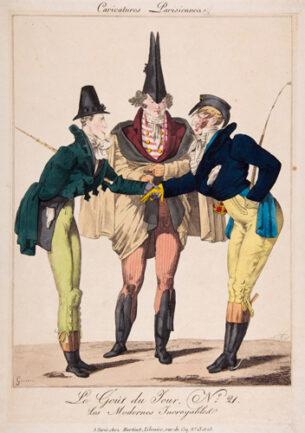 fashion illustration - Georges-Jacques Gatine, Le Goût du Jour, No. 21: Les Modernes Incroyables, from Caricatures Parisiennes, ca.1815