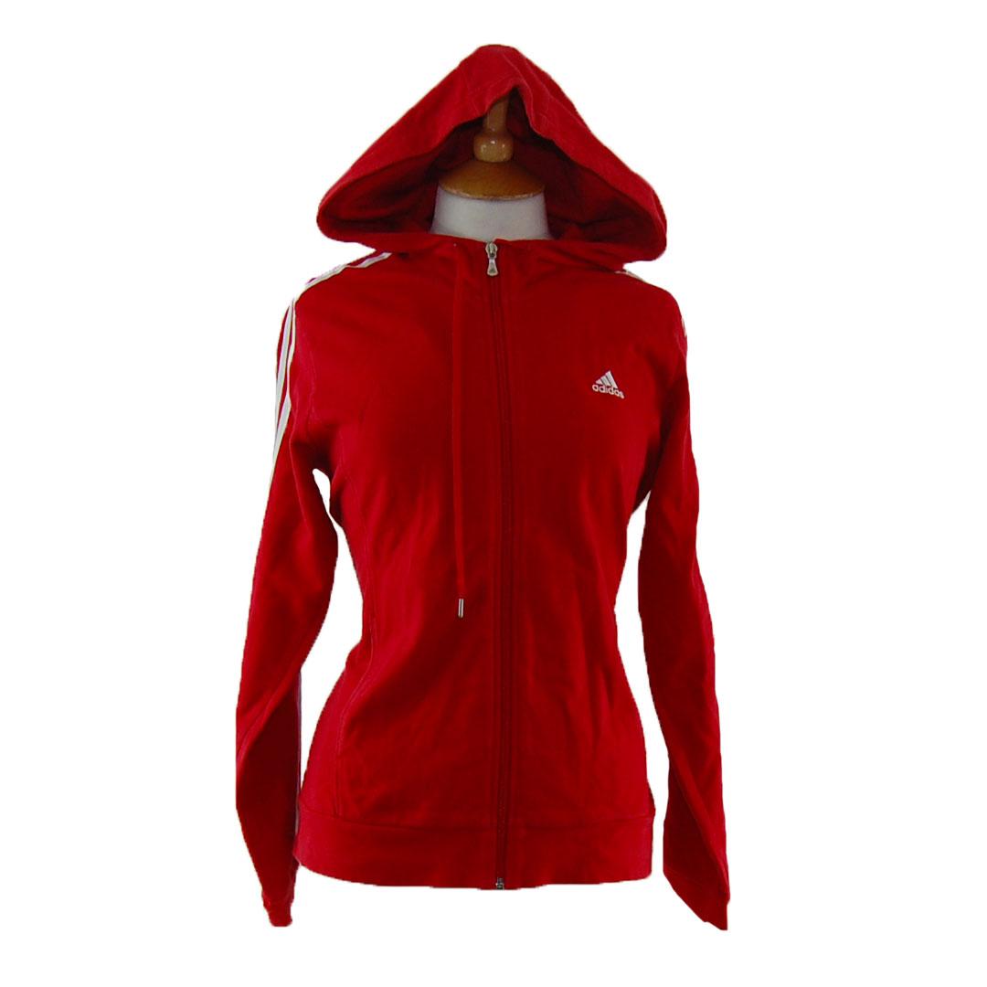 aplausos si alcanzar  Red Adidas Zip Up Hoodie - UK 6 - Blue 17 Vintage Clothing