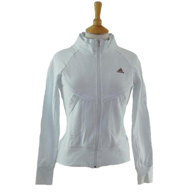 White Adidas Zip Up Hoodie