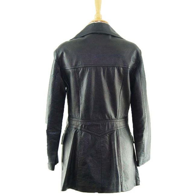 back of 70s Pure Leather Womens Jacket
