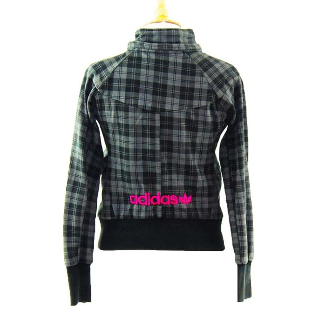back of Black And Grey Checkered Adidas Zip Up Hoodie