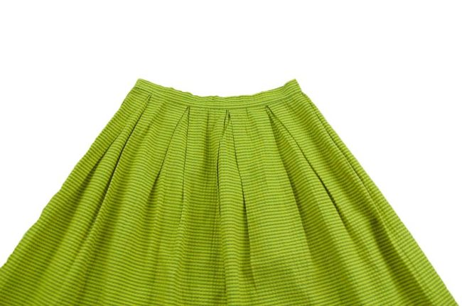 close up of 60s Yellow And Green Striped Skirt