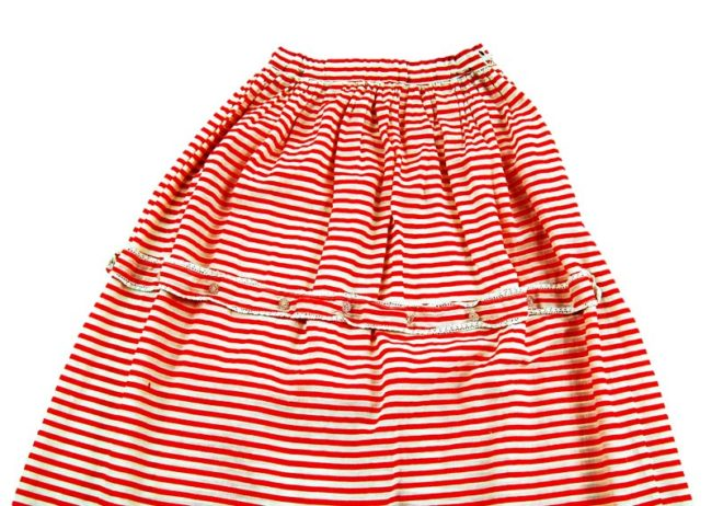close up of 70s Candy Stripe A-Line Skirt