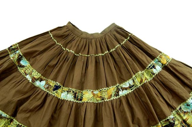 close up of 70s Oriental Style Cotton Full Skirt