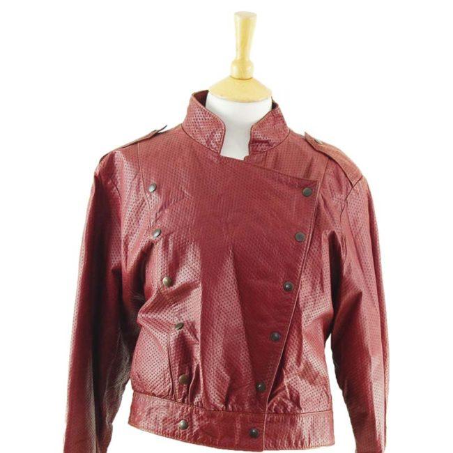 close up of 80s Burgundy Biker Jacket