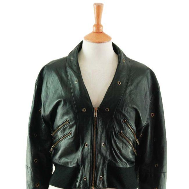 close up of 70s Womens Black Leather Biker Jacket