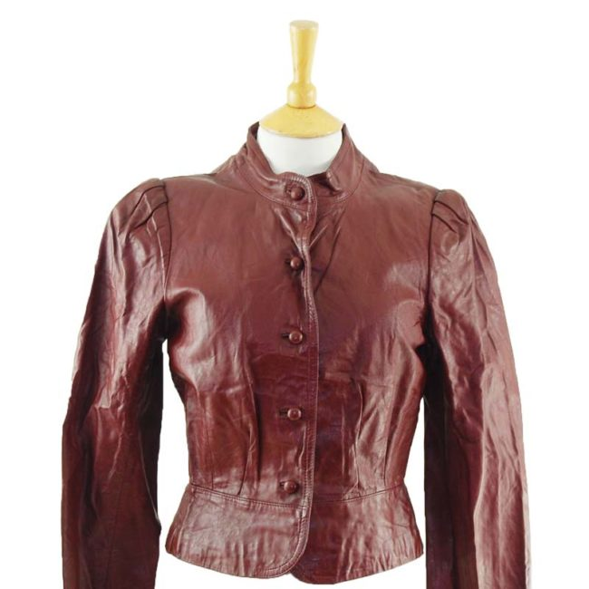 close up of 80s Womens Burgundy Leather Jacket