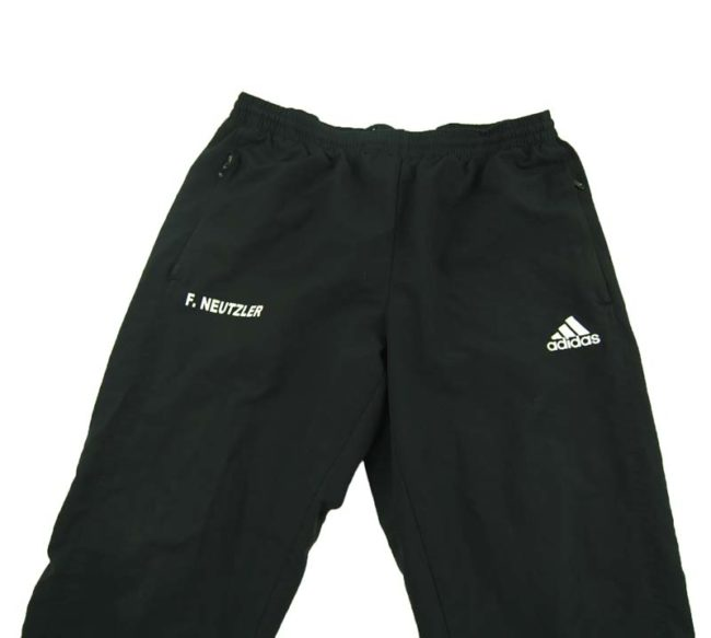 close up of 90s Black Adidas Sports Trackie Bottoms