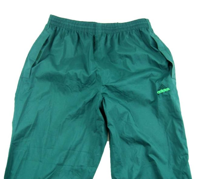 close up of 90s Green Adidas Golfing Trackie Bottoms