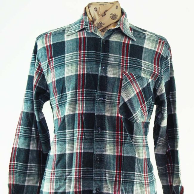close up of 90s Grey and Red Plaid Flannel Shirt