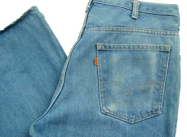 close up of side of Levis 563 Low Rise Flared Jeans