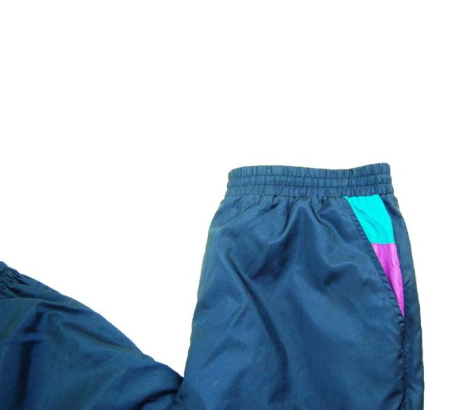 close up of 90s Navy Blue Shell Suit Bottoms