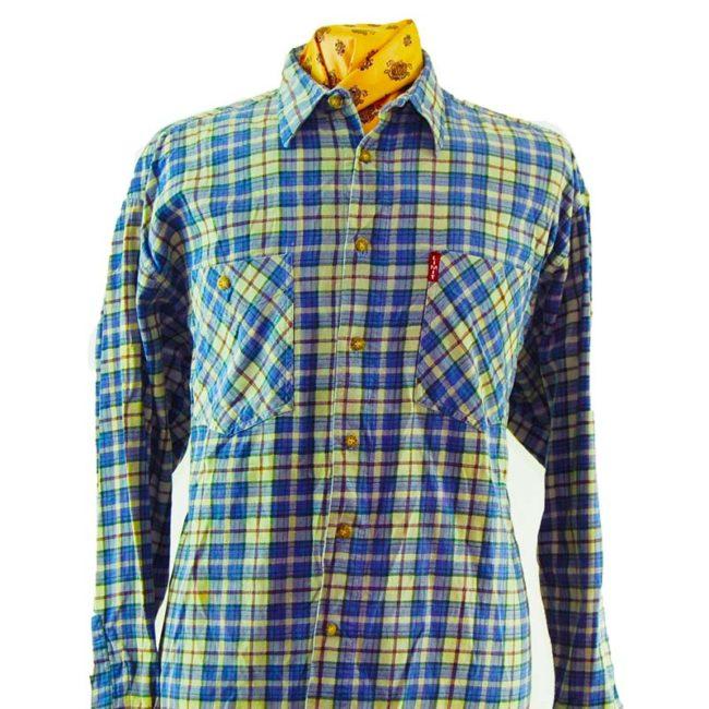 close up of 90s Pure Cotton Blue Plaid Flannel Shirt