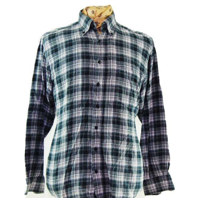 close up of 90s Retro Grunge Plaid Flannel Shirt