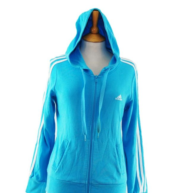 close up of Baby Blue Adidas Zipper Hoodie