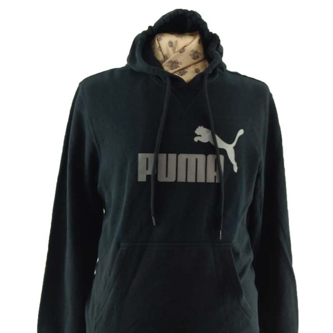 close up of Black And Grey Puma Pullover Hoodie