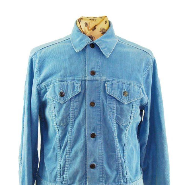 close up of 70s Blue Levis Corduroy Jacket