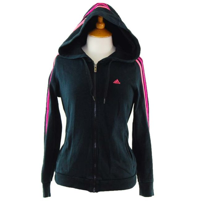 close up of Classic Black and Pink Adidas Zip Up Hoodie