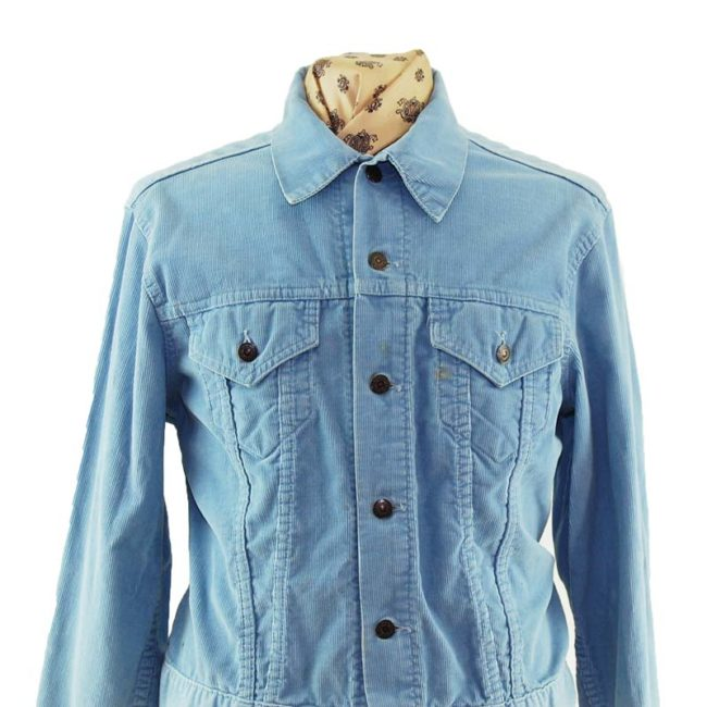 close up of 70s Levis Slim Fit Cord Denim Jacket
