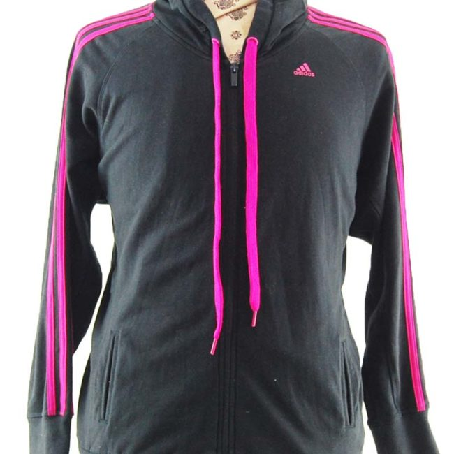 close up of Oversized Pink And Black Hoodie