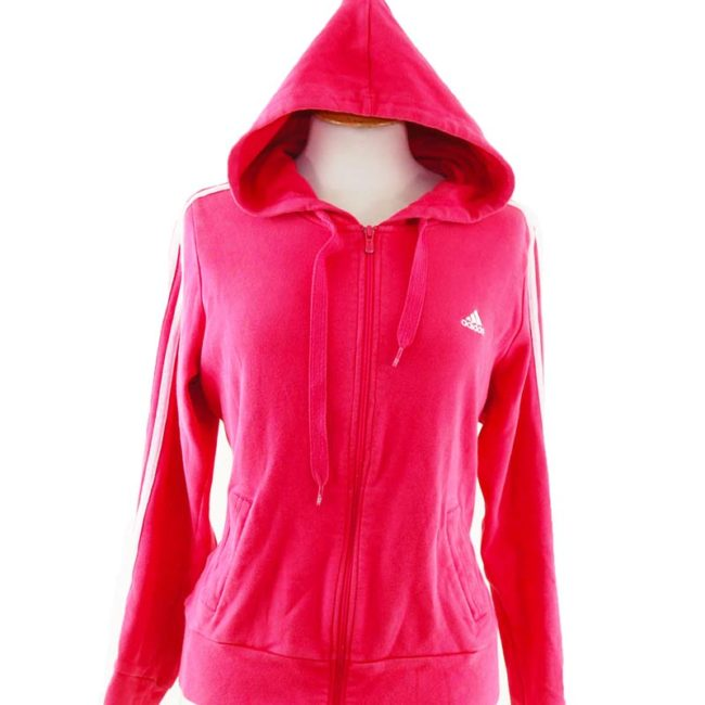 close up of Oversized Pink Zipper Hoodie